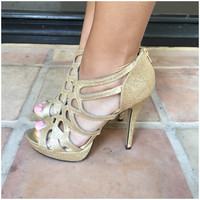 Gold Cherry High Heels