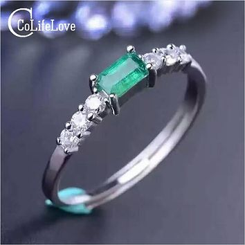 Simple silver emerald ring 3*5mm natural emerald gemstone solid silver 925 silver emerald ring valentine day gift for girlfriend