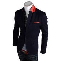 Mens One Button Suits Slim Fit Casual Coat