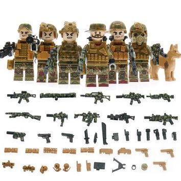 Counter-Terrorism Elite Group Swat Military Figures Compatible Legoinglys Army Soldier WW2 Buliding Block Lots Weapon Gun Toys