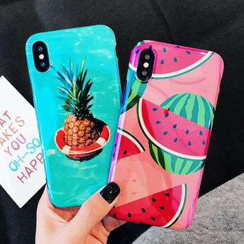 LOVECOM Blu-Ray Phone Case For iPhone X 6 6S 7 8 Plus Cute Summer Fruit Pineapple Watermelon Soft IMD Back Cover Cases Coque