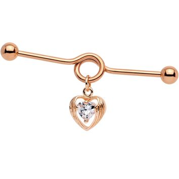Clear CZ Rose Gold Tone Hugged Heart Industrial Project Barbell 38mm