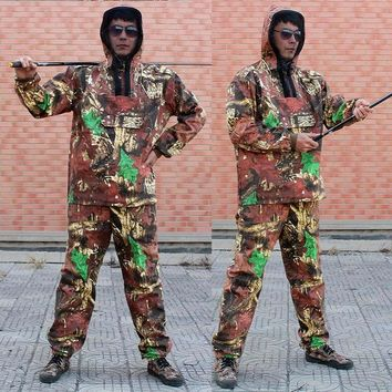 Men's Outdoor Camouflage Hunting Clothing Uniform Unti Mosquito Clothes Fishing Clothes Hoodie Pants Bionic Camo Hunting Suit