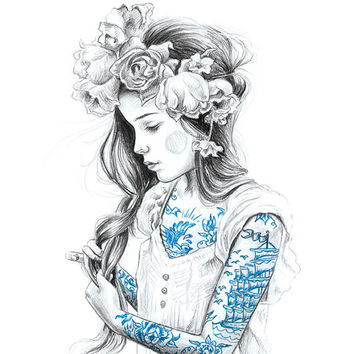 girl with tattoos art print - limited edition