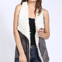 Furry Suede Vest - Charcoal