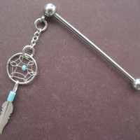 Industrial Barbell Turquoise Dream Catcher Feather Dreamcatcer Charm