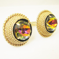 Vintage Cufflinks Watermelon Heliotrope Colorful Glass Stones Signed Swank Mens Jewelry Gifts for Men French Cuff STyle
