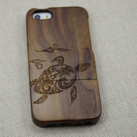 sea turtle, cute sea turtle Wood iphone 5 case,Wooden iPhone 5s case,sea turtle iPhone case