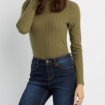 Hacci Knit Mock Neck Top | Charlotte Russe