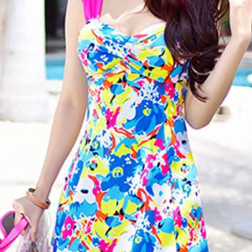 Blue Sweetheart Neckline Printed Push-Up One-Piece Swimsuit