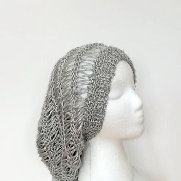 Silver open weave slouch hat, extra-large size  5189