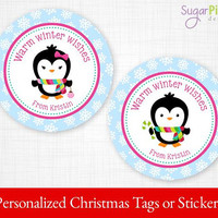 PRINTABLE Christmas Gift tags, Christmas Stickers, Christmas Tags, Christmas Treat Tags, Christmas Party Supplies 2.5 inch Circle, Penguins