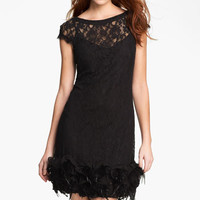 Jessica Simpson Feather Trim Illusion Yoke Lace Dress | Nordstrom