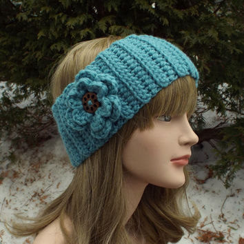 Lagoon Blue Ear Warmer - Crochet Headband with Flower - Light Blue Head Wrap - Womens Ski Band - Chunky Earwarmer - Winter Headband