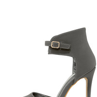 Oohs and Ahhs Grey Nubuck Ankle Strap Pumps