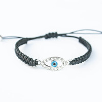 Evil Eye Blue Oval Black Cotton Cord Friendship Bracelet Yoga Spiritual Enlighten Jewelry Reiki Charged Zen