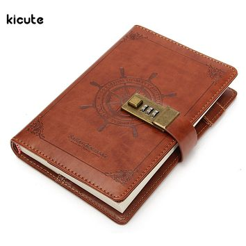1Pcs Vintage Rudder Brown Leather Journal Blank Diary Note Book with Password Code Lock Office School Stationery Supplies Gifts