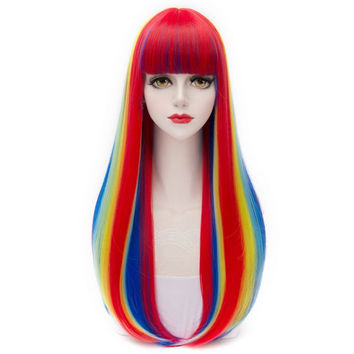 Offbeat Rainbow Fashion Full Bang Synthetic Natural Straight Long Capless Charming Women's Cosplay Wig