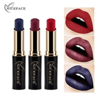 Brand NICEFACE Shimmer Metallic Velvet Lip Stick Makeup Long Lasting Waterproof Moisturizer Matte Lipstick 12colors Cosmetics
