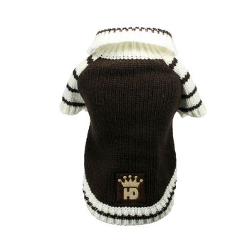 Brown HD Crown Cardigan Dog Sweater