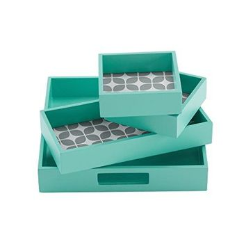 "Intelligent Design ID71-531 Lita 4 Piece Decorative Tray Set, 9.8 x 9.8 x 1.78"", Teal"