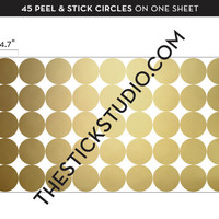 Polka dot wall decals | Gold polka dot wall decal | Removable wallpaper alternative | Circle wall stickers | Gold circle decal