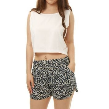 Allegra K Women's Sleeveless Crop Top w Novelty Prints Shorts Sets Blue (Size S / 4) - Walmart.com