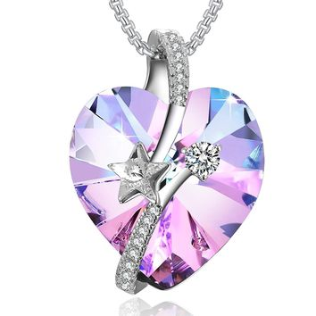 """""""Shooting Star"""" Heart Crystal Necklace PLATO H """"Eternal Love"""" Heart Star Necklace Woman Gifts Necklace Love Heart Pendant Necklace, Ocean Blue/Classic Purple"""