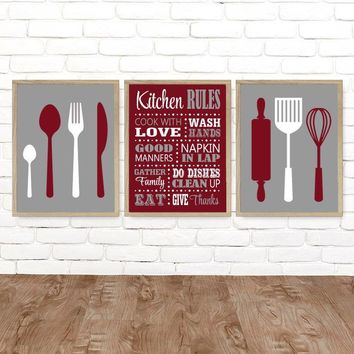 KITCHEN Rules Wall Art, Kitchen CANVAS or Print, Kitchen Rules Dining Room Decor, Kitchen Utensils Spoon Fork Roller Wisk Decor, Set of 3