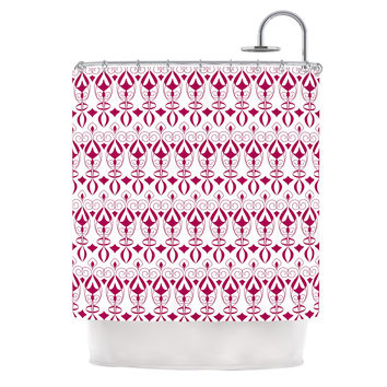 "Julia Grifol ""Warm Deco"" Pink White Shower Curtain"