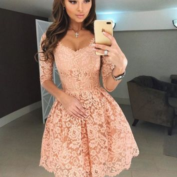 Pink Lace Middle 3/4 Sleeves Knee Length Homecoming Dresses