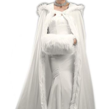 Full Length Hooded Ivory Satin Bridal Cloak