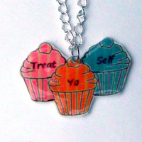 Treat Yo Self Necklace, Parks and Recreation, Parks and Rec, Donna, Tom, Cupcakes, Treat Your Self, Charm, Pendant, Gift, necklace