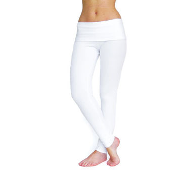 White yoga pants white leggings fold over pants tie dye pants