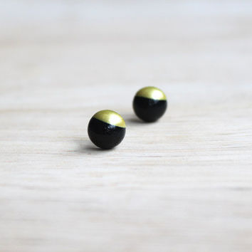 tiny wooden stud earrings black gold dipped // wood post earring studs - 8 mm // everyday jewelry, eco-friendly, pastel stud earringsmm -