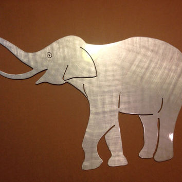 Elephant Metal Wall Art - Elephant Art - Metal Art - Wall Art - Metal Wall Decor - Silver Wall Art - Unique Wall Art