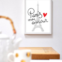 French Calligraphy Typographic Art Paris Mon Amour Paris My Love Poster Print Home Decor Office Decor Bedroom Decor Wall Art Poster Print