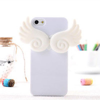 Lovely 3D Design Angel Wing Holder TPU Silicone Stand Case Skin For iPhone 5 5G