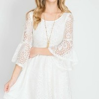 Cream 3/4 Bell Sleeve Lace Dress (final sale)