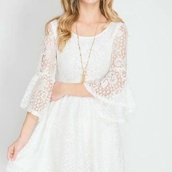 Cream 3/4 Bell Sleeve Lace Dress