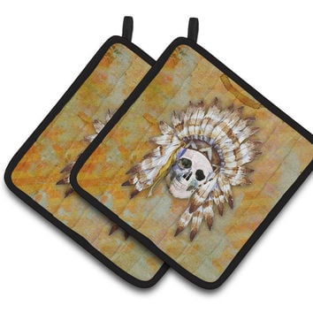 Day of the Dead Indian Skull Pair of Pot Holders BB5121PTHD