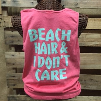 SALE Southern Chics Comfort Colors Beach Hair Don't Care Girlie Bright T Shirt Tank Top