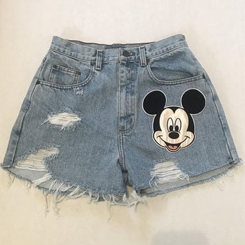 Upcycled Vintage High Waisted Light Wash Distressed Mickey Mouse Patch Denim Shorts - Disney Inspired Denim Shorts