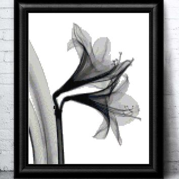 Whimsical Modern Lily Flower in Black and White Cross Stitch Pattern