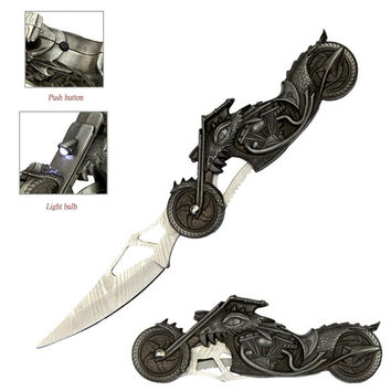 High Beam Motorcycle Fantasy Dragon Folding Knife With LED Light