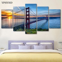 YPHYHD 5 Piece Golden Gate Bridge Art Print Poster Picture Frames Abstract Painting Modular Painting on the Wall Art Home Decor