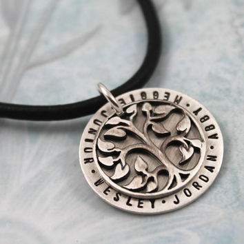 Large Tree of life necklace, Personalized Necklace, Gift for New Dad, Grandpa, All Silver