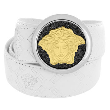 "Gold Tone Medusa Buckle White Leather Belt Mens 46"" Waist Hip Hop"