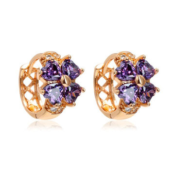 Baby Kids Jewelry Yellow Gold Plated Lucky Four Leaf Clover Heart Cut Amethyst Purple CZ Small Hoop Earrings For Girls Child