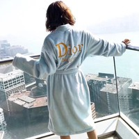 """Dior"" Women Velvet Home Sleepwear Embroidery Letter Long Sleeve Middle Long Section Cardigan Nightgown Bathrobe Coat"